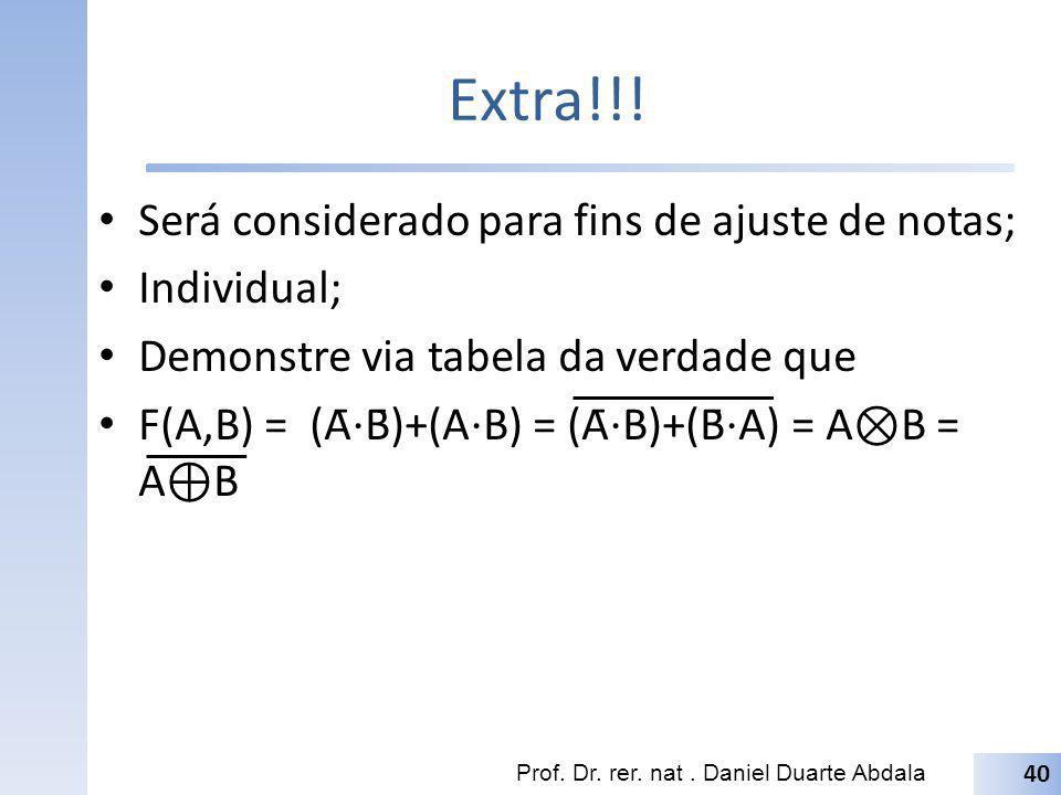 Extra!!! Será considerado para fins de ajuste de notas; Individual; Demonstre via tabela da verdade que F(A,B) = (Ā B̄)+(A B) = (Ā B)+(B̄ A) = A B =