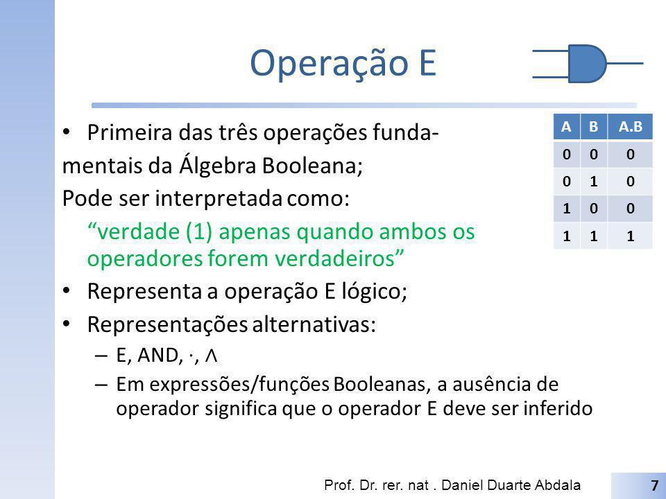 Operação E Primeira das três operações funda- mentais da Álgebra Booleana; Pode ser interpretada como: verdade (1) apenas quando ambos os operadores f