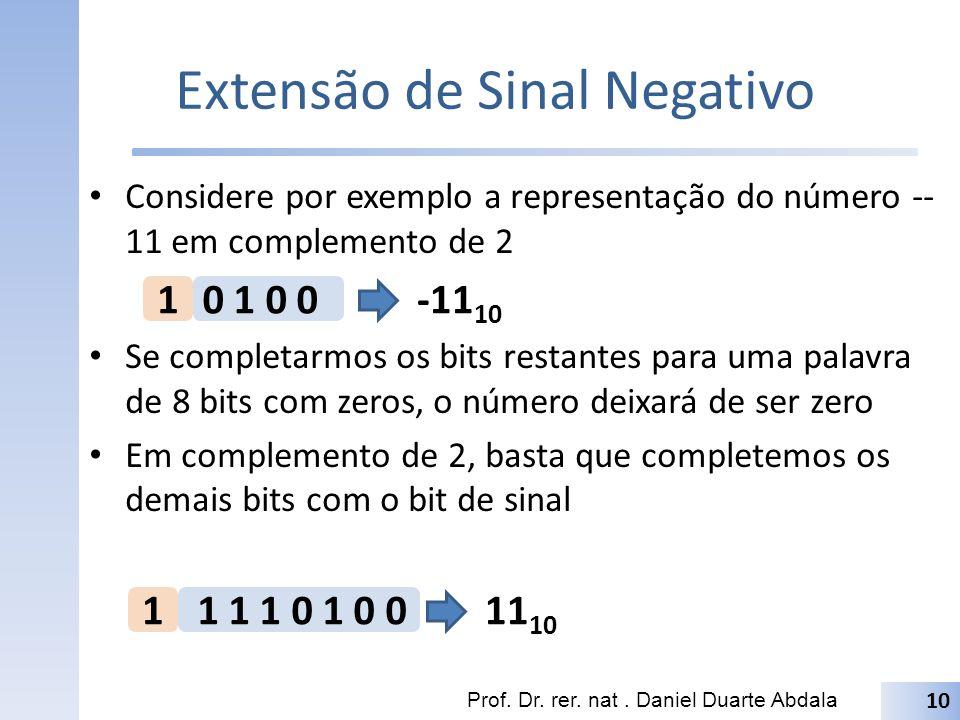 Extensão de Sinal Negativo Considere por exemplo a representação do número -- 11 em complemento de 2 Se completarmos os bits restantes para uma palavr