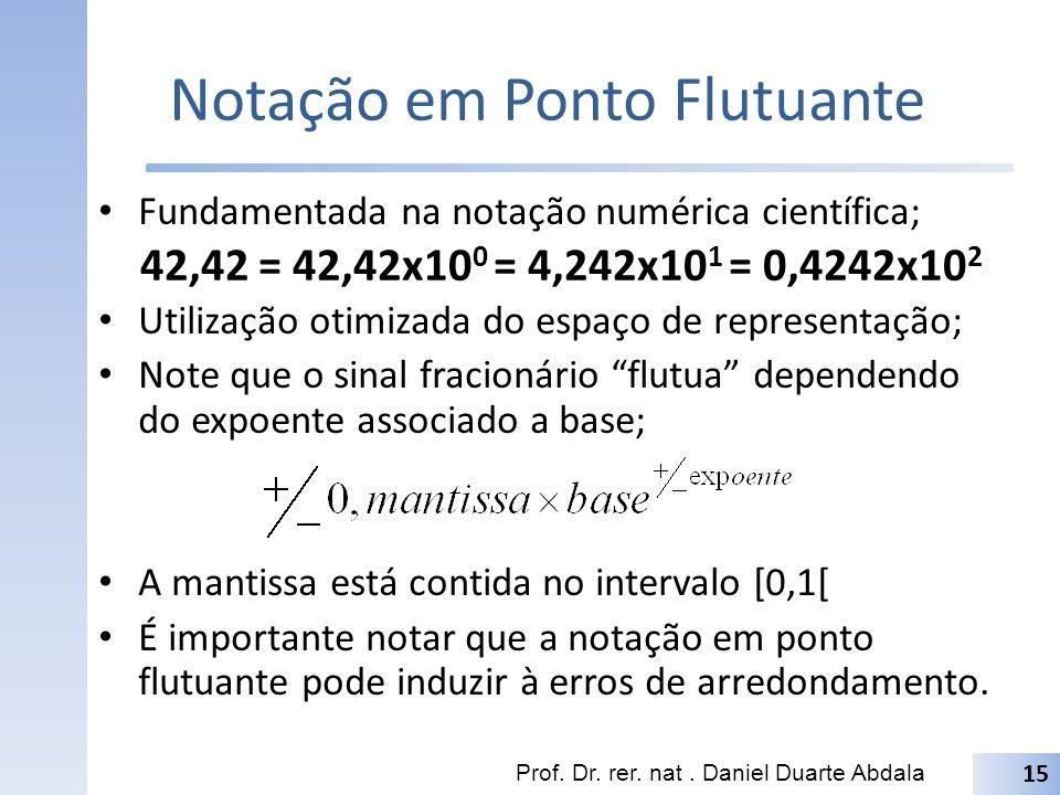 Notação em Ponto Flutuante Fundamentada na notação numérica científica; Utilização otimizada do espaço de representação; Note que o sinal fracionário