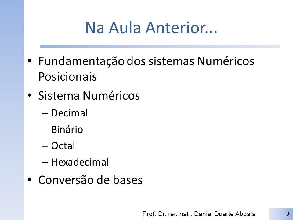Na Aula Anterior... Fundamentação dos sistemas Numéricos Posicionais Sistema Numéricos – Decimal – Binário – Octal – Hexadecimal Conversão de bases Pr