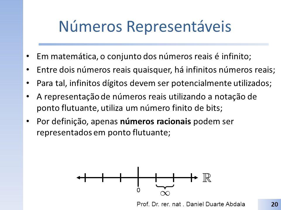 Números Representáveis Em matemática, o conjunto dos números reais é infinito; Entre dois números reais quaisquer, há infinitos números reais; Para ta