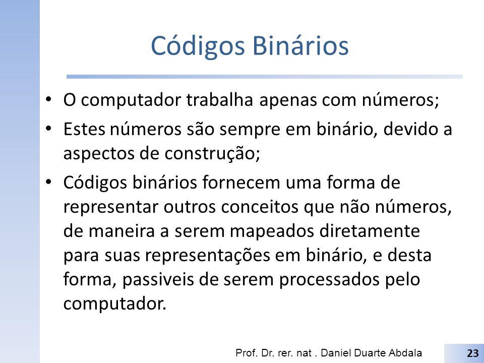 Códigos Binários O computador trabalha apenas com números; Estes números são sempre em binário, devido a aspectos de construção; Códigos binários forn
