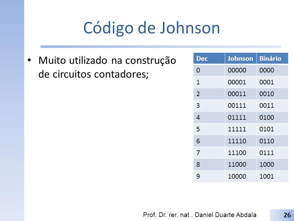 Código de Johnson Muito utilizado na construção de circuitos contadores; Prof. Dr. rer. nat. Daniel Duarte Abdala 26 DecJohnsonBinário 0000000000 1000