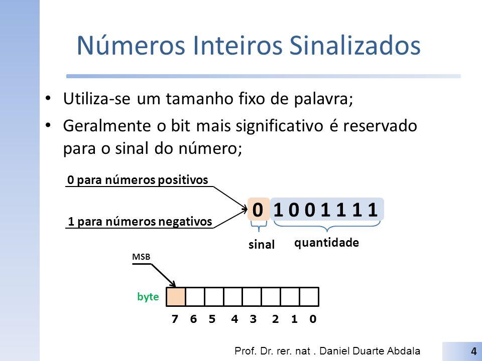 Números Inteiros Sinalizados Utiliza-se um tamanho fixo de palavra; Geralmente o bit mais significativo é reservado para o sinal do número; Prof. Dr.