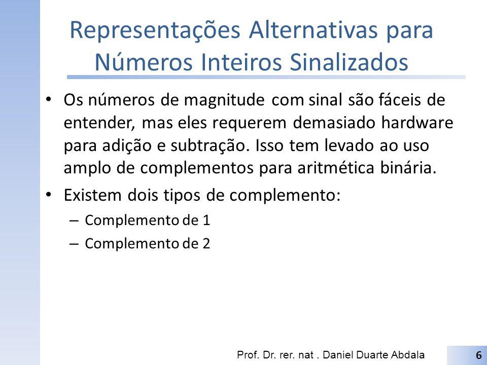 Complemento de 1 O complemento de 1 é calculado pela inversão de cada um dos bit do número; Existe duas possíveis representações par o número 0.