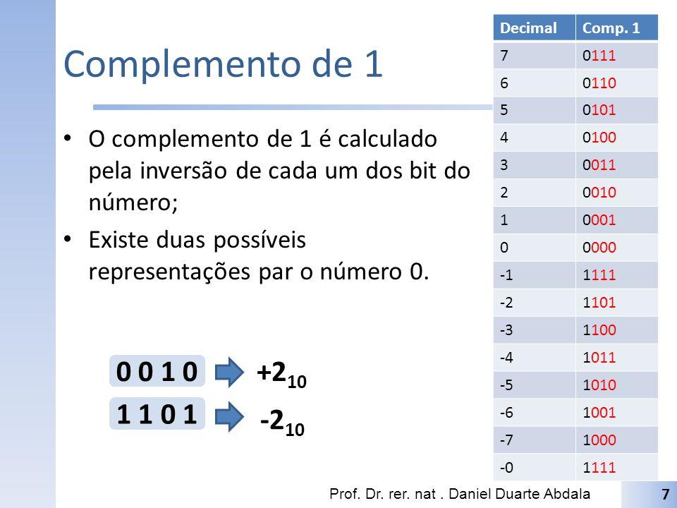 Complemento de 1 O complemento de 1 é calculado pela inversão de cada um dos bit do número; Existe duas possíveis representações par o número 0. Prof.
