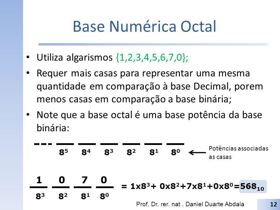 Base Numérica Octal Utiliza algarismos {1,2,3,4,5,6,7,0}; Requer mais casas para representar uma mesma quantidade em comparação à base Decimal, porem