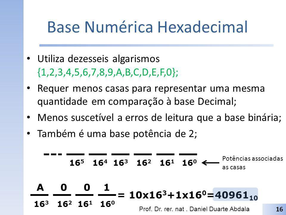 Base Numérica Hexadecimal Utiliza dezesseis algarismos {1,2,3,4,5,6,7,8,9,A,B,C,D,E,F,0}; Requer menos casas para representar uma mesma quantidade em