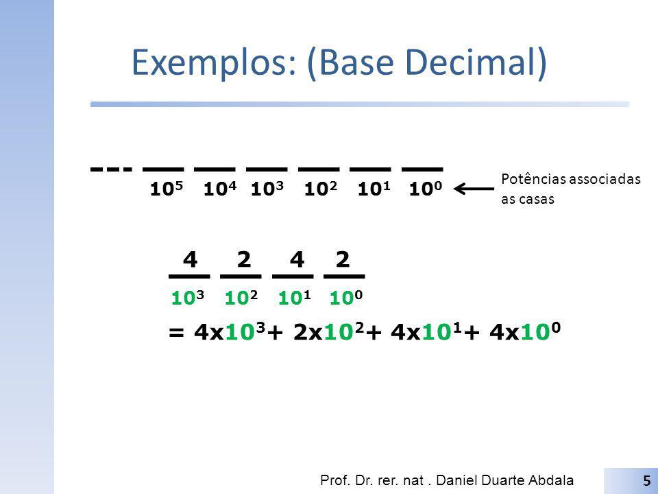 Exemplos: (Base Decimal) Prof. Dr. rer. nat. Daniel Duarte Abdala 5 10 5 10 4 10 3 10 2 10 1 10 0 Potências associadas as casas 10 3 10 2 10 1 10 0 4