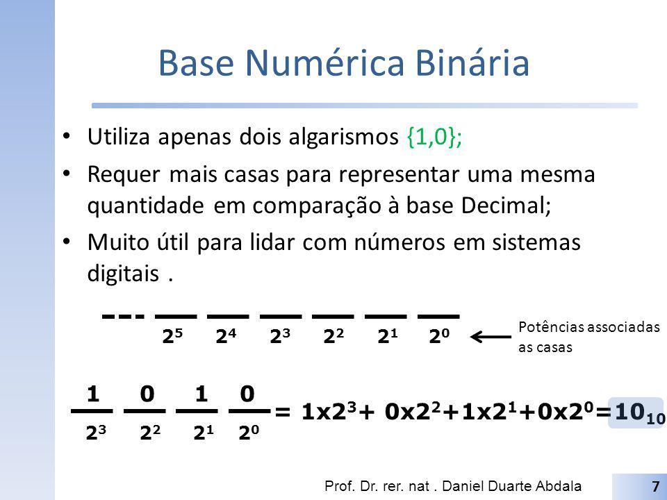 Base Numérica Binária Utiliza apenas dois algarismos {1,0}; Requer mais casas para representar uma mesma quantidade em comparação à base Decimal; Muit