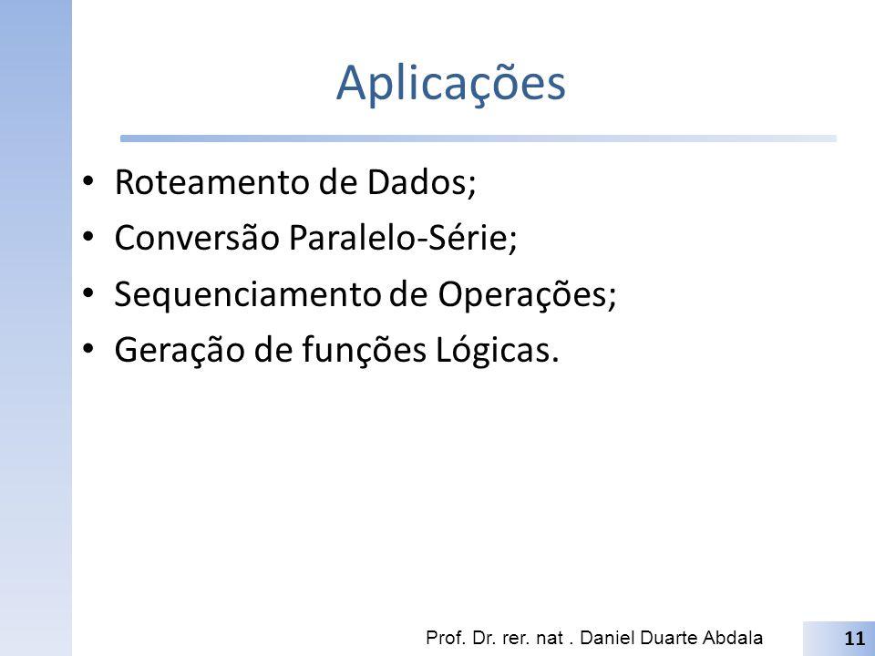 Aplicações Roteamento de Dados; Conversão Paralelo-Série; Sequenciamento de Operações; Geração de funções Lógicas. Prof. Dr. rer. nat. Daniel Duarte A