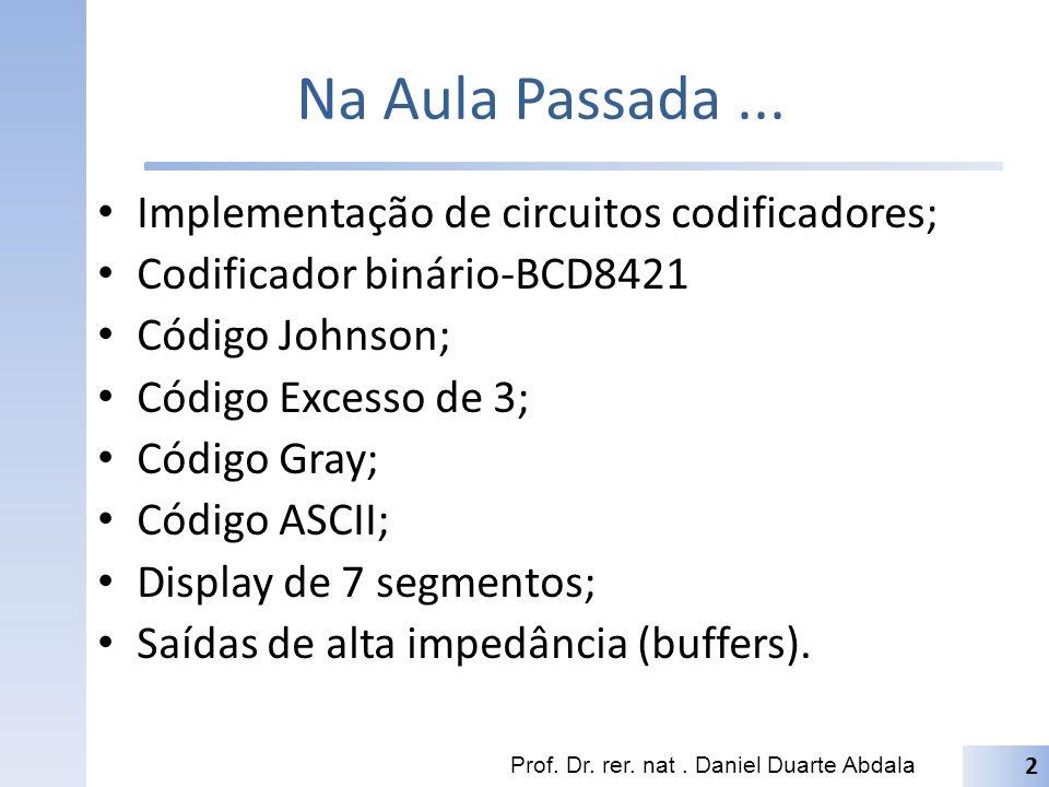 Na Aula Passada... Implementação de circuitos codificadores; Codificador binário-BCD8421 Código Johnson; Código Excesso de 3; Código Gray; Código ASCI