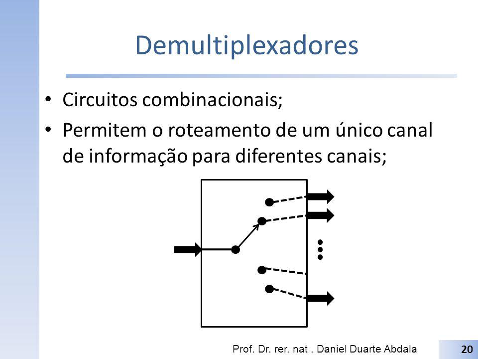 Demultiplexadores Circuitos combinacionais; Permitem o roteamento de um único canal de informação para diferentes canais; Prof. Dr. rer. nat. Daniel D