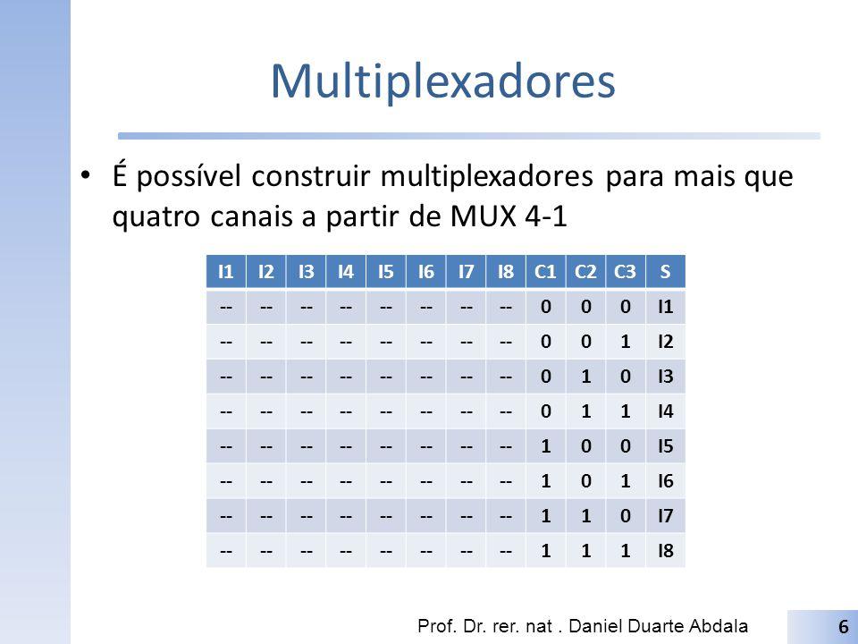 Multiplexadores É possível construir multiplexadores para mais que quatro canais a partir de MUX 4-1 Prof. Dr. rer. nat. Daniel Duarte Abdala 6 I1I2I3