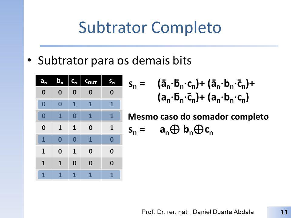 Subtrator Completo Subtrator para os demais bits Prof. Dr. rer. nat. Daniel Duarte Abdala anan bnbn cncn c OUT snsn 00000 00111 01011 01101 10010 1010