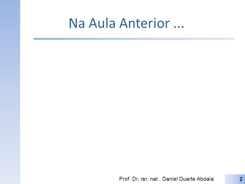 Na Aula Anterior... Prof. Dr. rer. nat. Daniel Duarte Abdala 2
