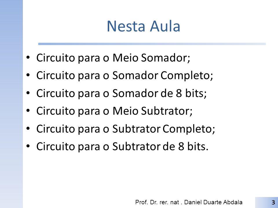 Nesta Aula Circuito para o Meio Somador; Circuito para o Somador Completo; Circuito para o Somador de 8 bits; Circuito para o Meio Subtrator; Circuito