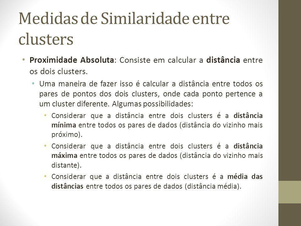 Medidas de Similaridade entre clusters Proximidade Absoluta: Consiste em calcular a distância entre os dois clusters.