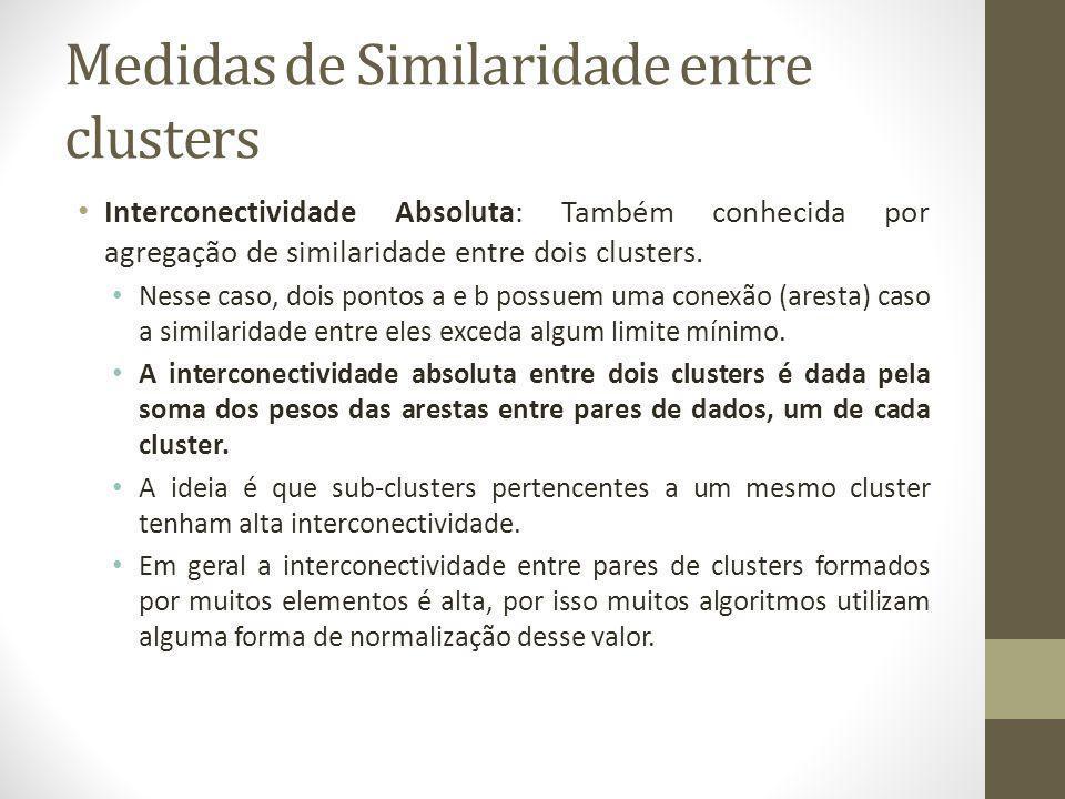 Medidas de Similaridade entre clusters Interconectividade Absoluta: Também conhecida por agregação de similaridade entre dois clusters.