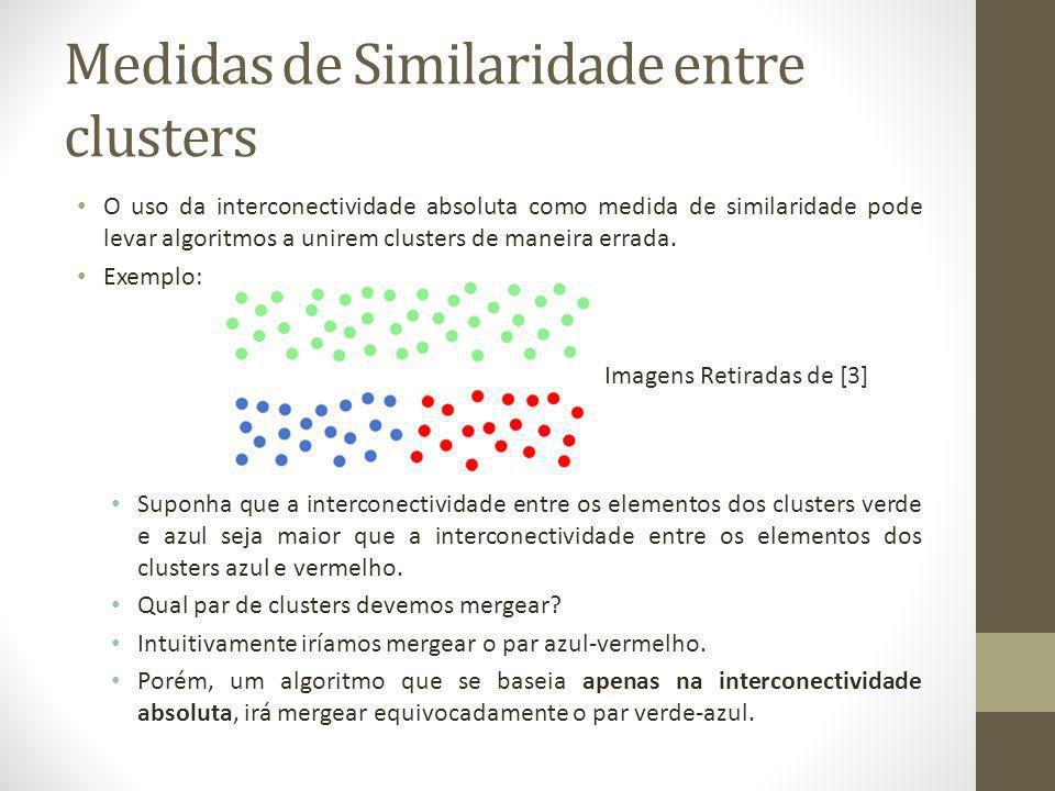 Medidas de Similaridade entre clusters O uso da interconectividade absoluta como medida de similaridade pode levar algoritmos a unirem clusters de maneira errada.