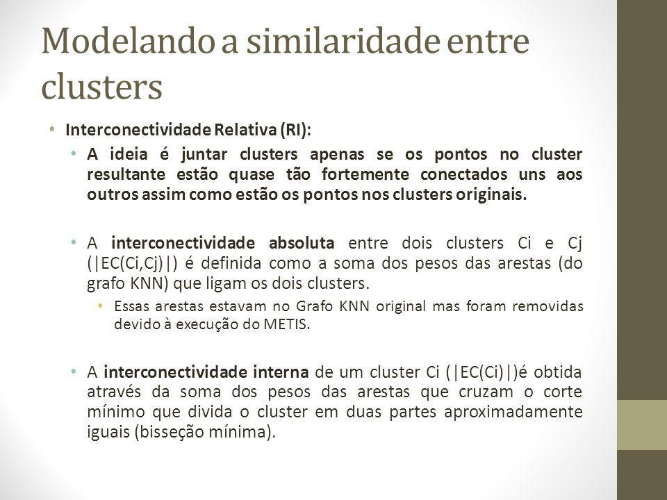 Modelando a similaridade entre clusters Interconectividade Relativa (RI): A ideia é juntar clusters apenas se os pontos no cluster resultante estão quase tão fortemente conectados uns aos outros assim como estão os pontos nos clusters originais.