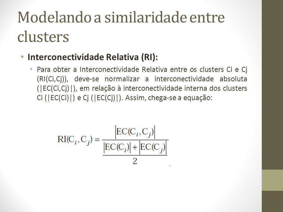 Modelando a similaridade entre clusters Interconectividade Relativa (RI): Para obter a Interconectividade Relativa entre os clusters Ci e Cj (RI(Ci,Cj)), deve-se normalizar a interconectividade absoluta (|EC(Ci,Cj)|), em relação à interconectividade interna dos clusters Ci (|EC(Ci)|) e Cj (|EC(Cj)|).