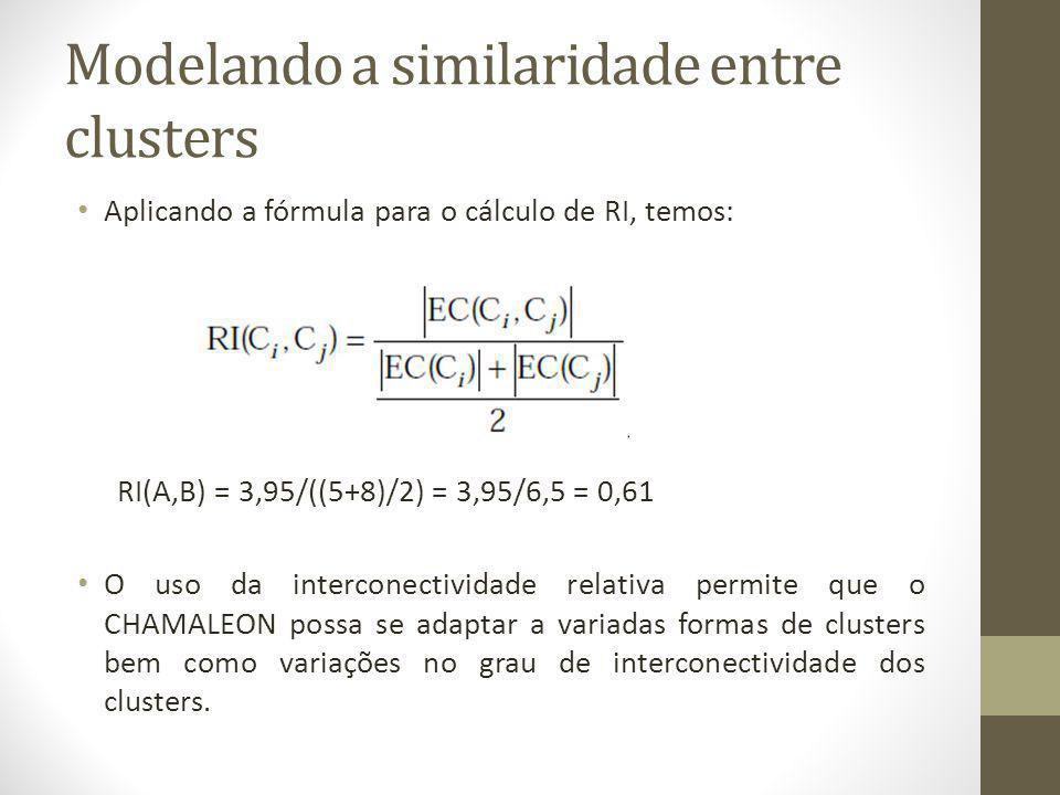 Modelando a similaridade entre clusters Aplicando a fórmula para o cálculo de RI, temos: RI(A,B) = 3,95/((5+8)/2) = 3,95/6,5 = 0,61 O uso da interconectividade relativa permite que o CHAMALEON possa se adaptar a variadas formas de clusters bem como variações no grau de interconectividade dos clusters.