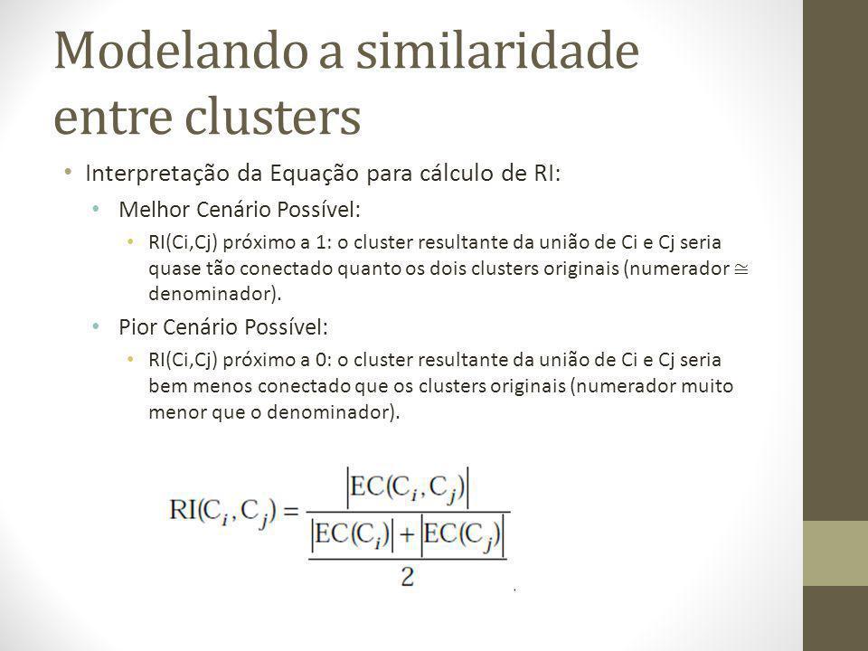 Modelando a similaridade entre clusters Interpretação da Equação para cálculo de RI: Melhor Cenário Possível: RI(Ci,Cj) próximo a 1: o cluster resultante da união de Ci e Cj seria quase tão conectado quanto os dois clusters originais (numerador denominador).