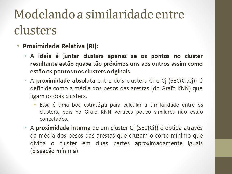 Modelando a similaridade entre clusters Proximidade Relativa (RI): A ideia é juntar clusters apenas se os pontos no cluster resultante estão quase tão próximos uns aos outros assim como estão os pontos nos clusters originais.