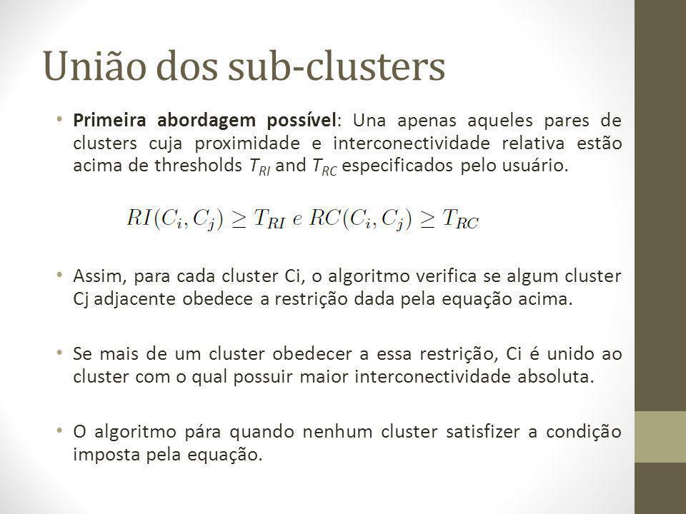 União dos sub-clusters Primeira abordagem possível: Una apenas aqueles pares de clusters cuja proximidade e interconectividade relativa estão acima de thresholds T RI and T RC especificados pelo usuário.