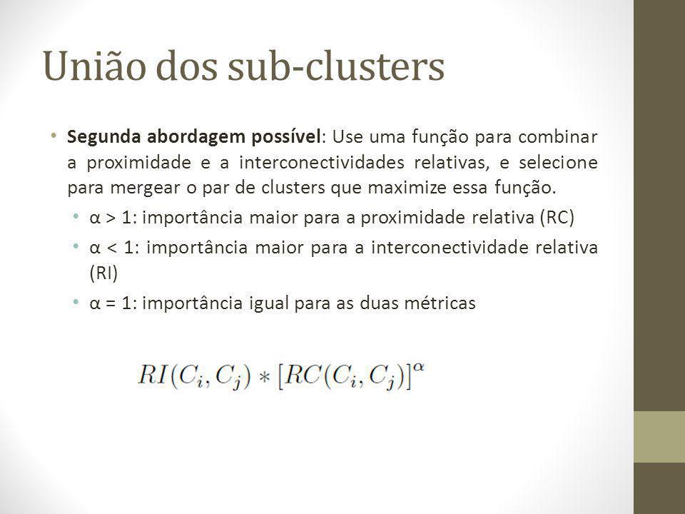 União dos sub-clusters Segunda abordagem possível: Use uma função para combinar a proximidade e a interconectividades relativas, e selecione para mergear o par de clusters que maximize essa função.