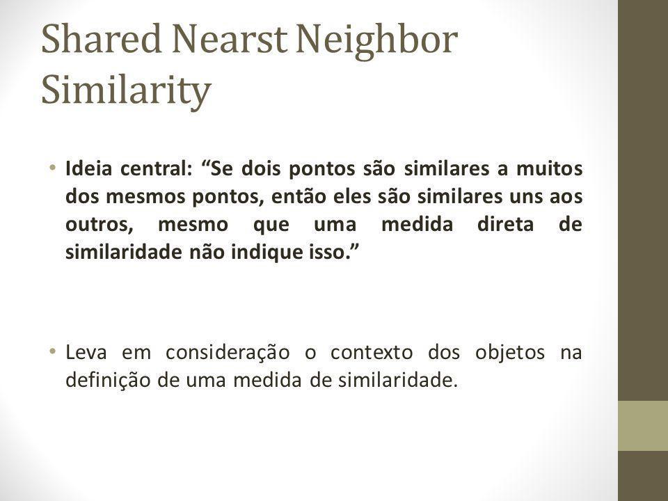 Shared Nearst Neighbor Similarity Ideia central: Se dois pontos são similares a muitos dos mesmos pontos, então eles são similares uns aos outros, mesmo que uma medida direta de similaridade não indique isso.