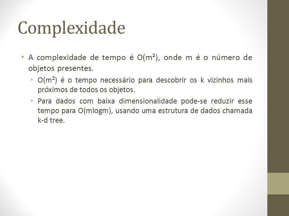 Complexidade A complexidade de tempo é O(m²), onde m é o número de objetos presentes.