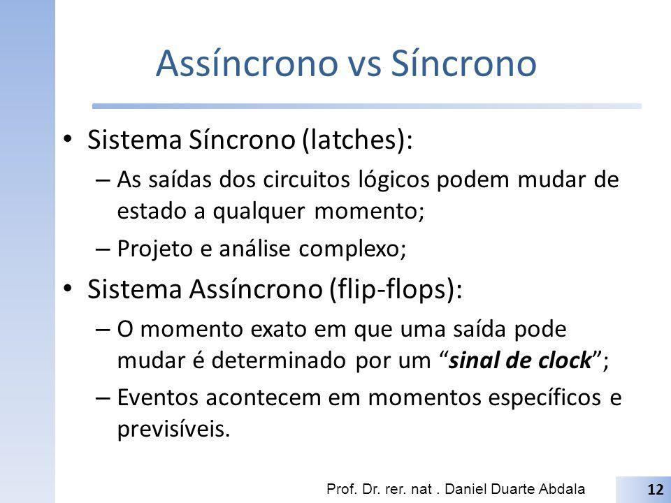 Assíncrono vs Síncrono Sistema Síncrono (latches): – As saídas dos circuitos lógicos podem mudar de estado a qualquer momento; – Projeto e análise com