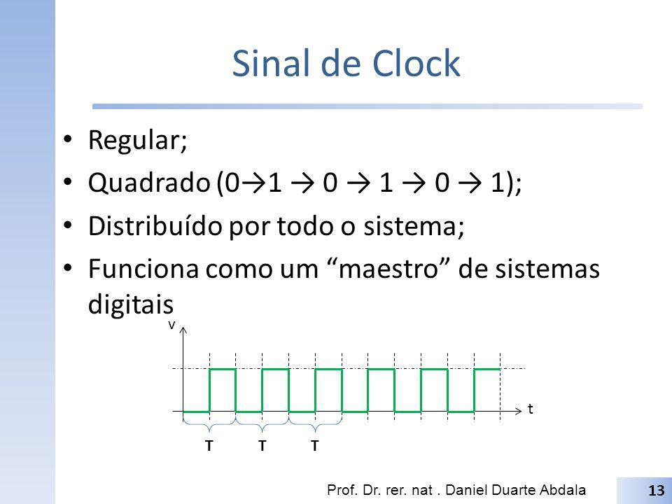 Sinal de Clock Regular; Quadrado (01 0 1 0 1); Distribuído por todo o sistema; Funciona como um maestro de sistemas digitais Prof. Dr. rer. nat. Danie