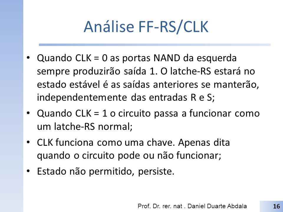 Análise FF-RS/CLK Quando CLK = 0 as portas NAND da esquerda sempre produzirão saída 1. O latche-RS estará no estado estável é as saídas anteriores se