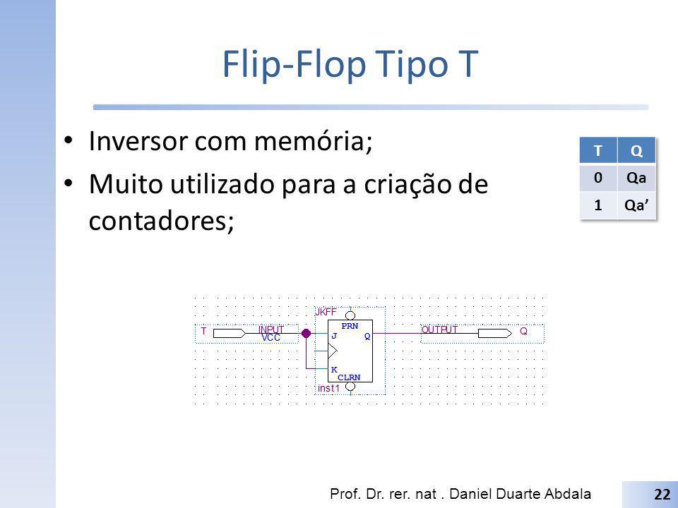Flip-Flop Tipo T Inversor com memória; Muito utilizado para a criação de contadores; Prof. Dr. rer. nat. Daniel Duarte Abdala 22