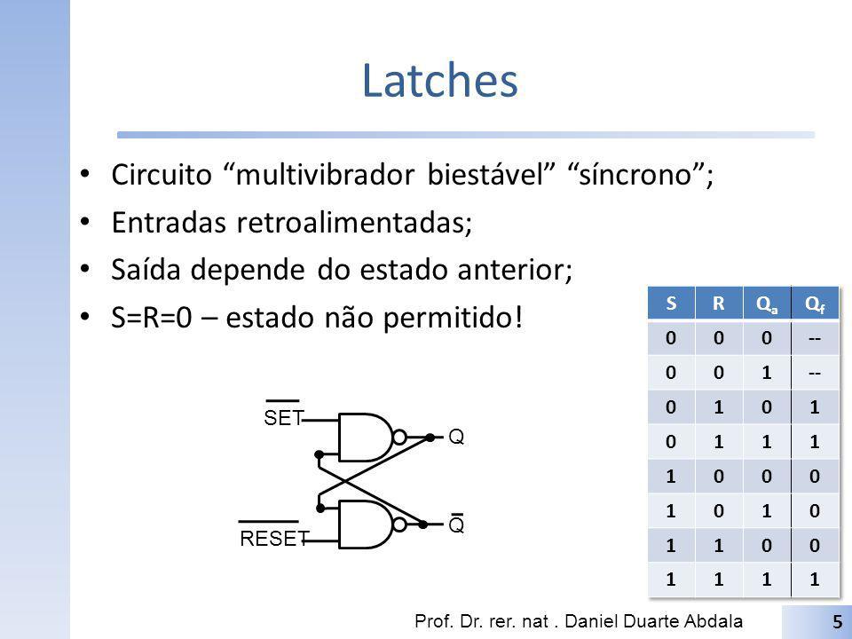 Latches Circuito multivibrador biestável síncrono; Entradas retroalimentadas; Saída depende do estado anterior; S=R=0 – estado não permitido! Prof. Dr