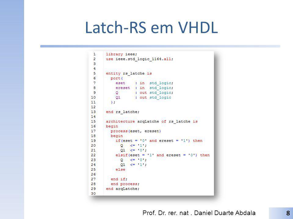 Latch-RS em VHDL Prof. Dr. rer. nat. Daniel Duarte Abdala 8