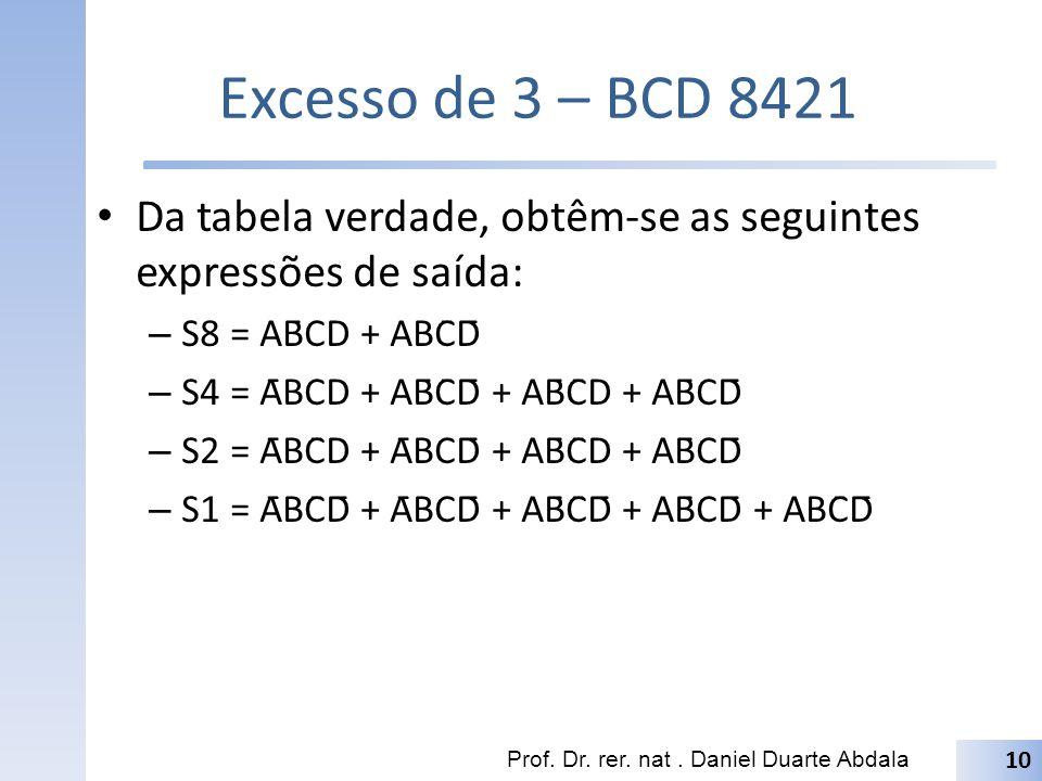 Excesso de 3 – BCD 8421 Da tabela verdade, obtêm-se as seguintes expressões de saída: – S8 = AB̄CD + ABC̄D̄ – S4 = ĀBCD + AB̄C̄D̄ + AB̄C̄D + AB̄CD̄ –