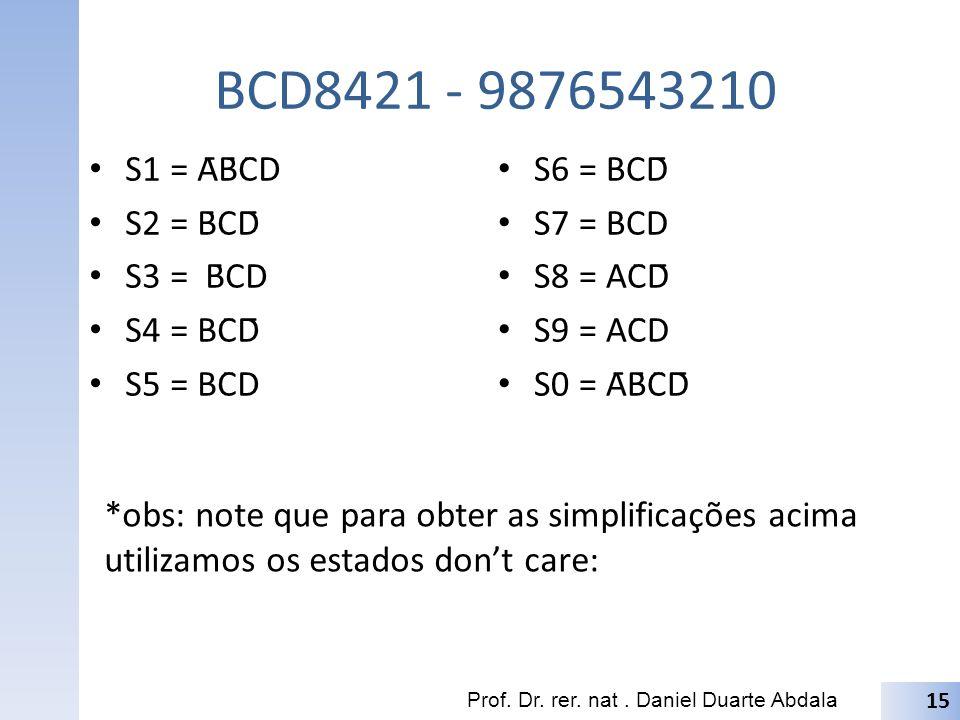 BCD8421 - 9876543210 S1 = ĀB̄C̄D S2 = B̄CD̄ S3 = B̄CD S4 = BC̄D̄ S5 = BC̄D S6 = BCD̄ S7 = BCD S8 = AC̄D̄ S9 = AC̄D S0 = ĀB̄C̄D̄ 15 Prof. Dr. rer. na