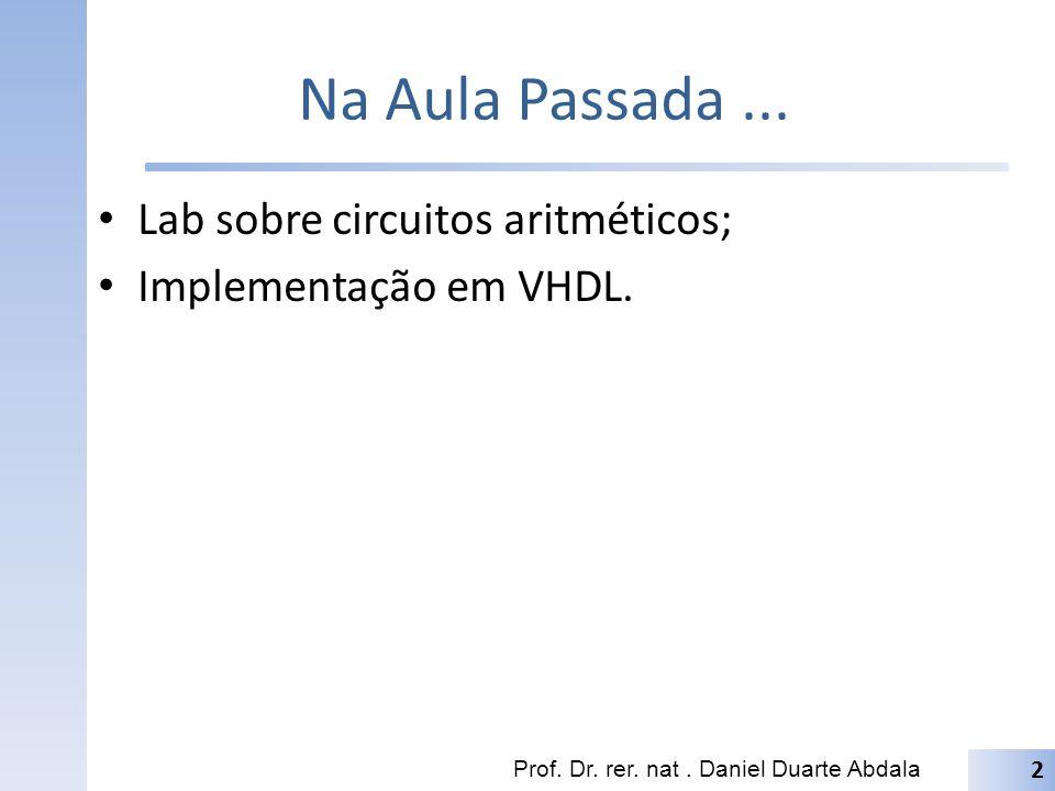 Na Aula Passada... Lab sobre circuitos aritméticos; Implementação em VHDL. Prof. Dr. rer. nat. Daniel Duarte Abdala 2