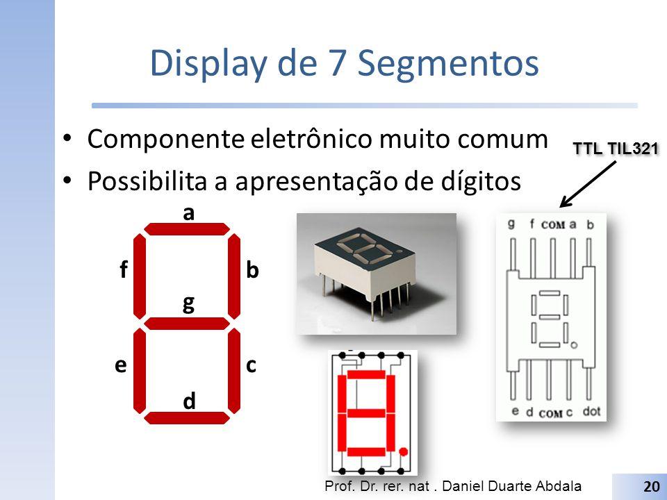 Display de 7 Segmentos Componente eletrônico muito comum Possibilita a apresentação de dígitos Prof. Dr. rer. nat. Daniel Duarte Abdala 20 a b c d e f
