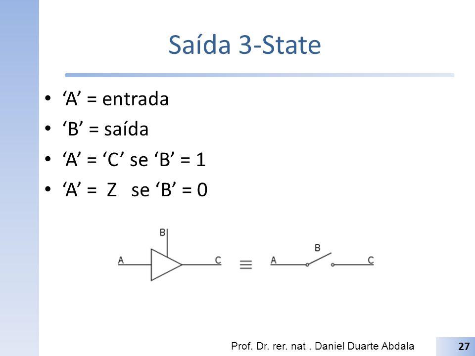 Saída 3-State A = entrada B = saída A = C se B = 1 A = Z se B = 0 Prof. Dr. rer. nat. Daniel Duarte Abdala 27