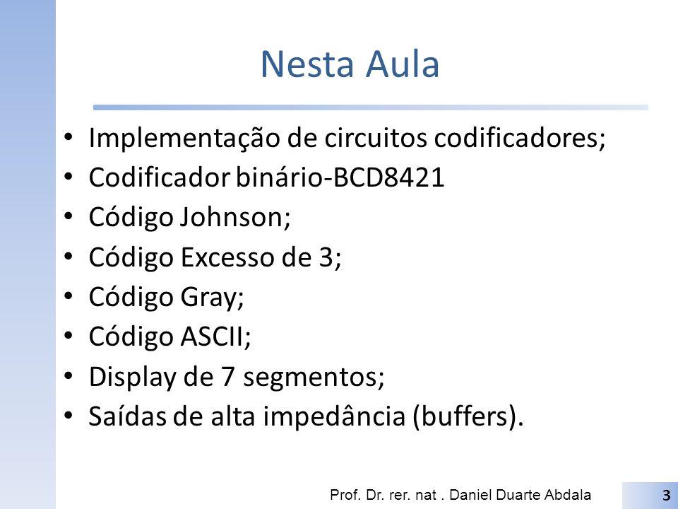 Nesta Aula Implementação de circuitos codificadores; Codificador binário-BCD8421 Código Johnson; Código Excesso de 3; Código Gray; Código ASCII; Displ