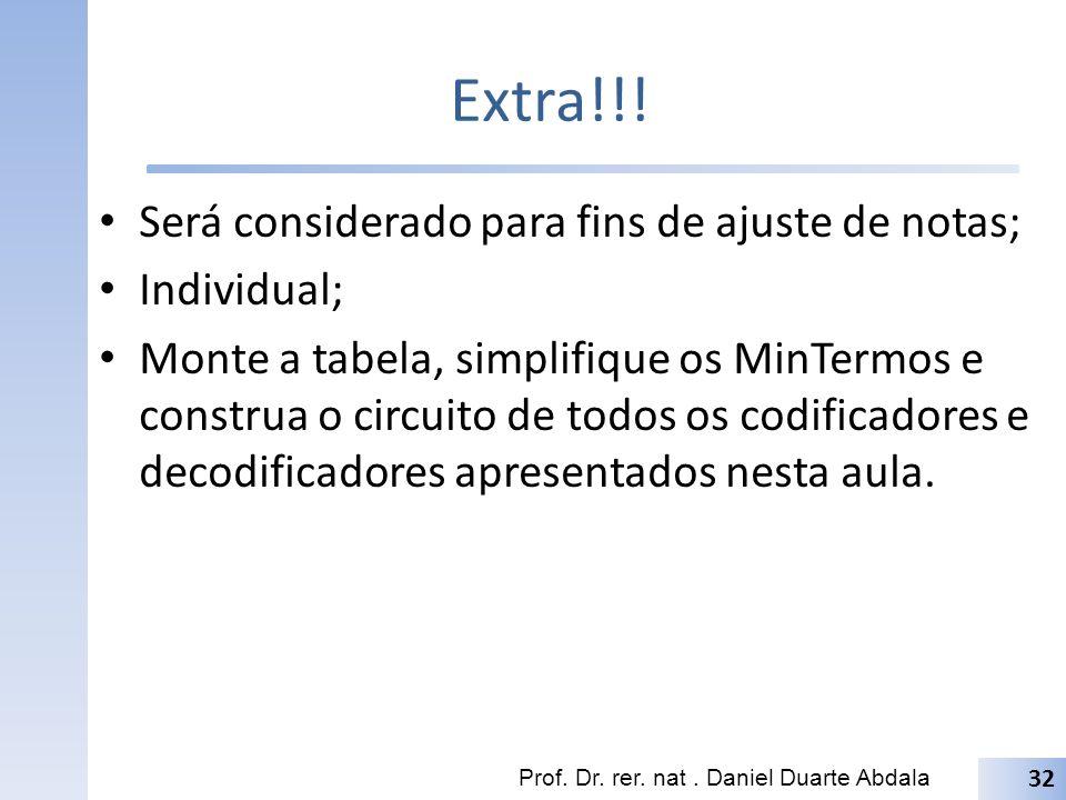 Extra!!! Será considerado para fins de ajuste de notas; Individual; Monte a tabela, simplifique os MinTermos e construa o circuito de todos os codific