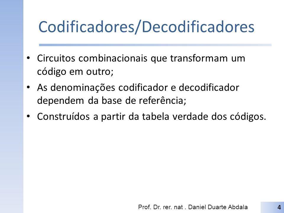 Codificadores/Decodificadores Circuitos combinacionais que transformam um código em outro; As denominações codificador e decodificador dependem da bas