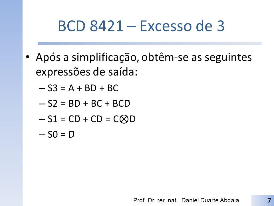 BCD 8421 – Excesso de 3 Após a simplificação, obtêm-se as seguintes expressões de saída: – S3 = A + BD + BC – S2 = B̄D + B̄C + BC̄D̄ – S1 = C̄D̄ + CD