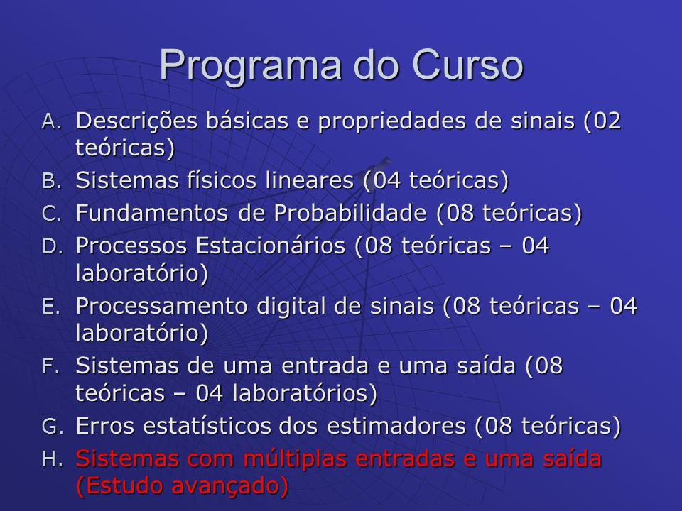 Programa do Curso A. Descrições básicas e propriedades de sinais (02 teóricas) B. Sistemas físicos lineares (04 teóricas) C. Fundamentos de Probabilid